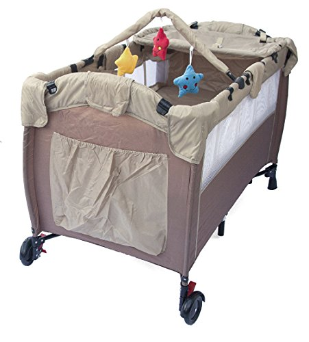 Portable Baby Child Travel Cot Bed Bassinet Play Pen Playpen (brown)