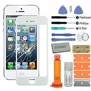 ACENIX Universal Reparaturset weiß Touch screen Front Glas-Objektiv Ersatz-Reparatur-Set mit Loca Kleber & Loca Entferner für Apple iPhone 55S 5C mit 20Stück Ersatz-Kits, komplett-Set für defekte iPhone 5Bildschirm Objektiv
