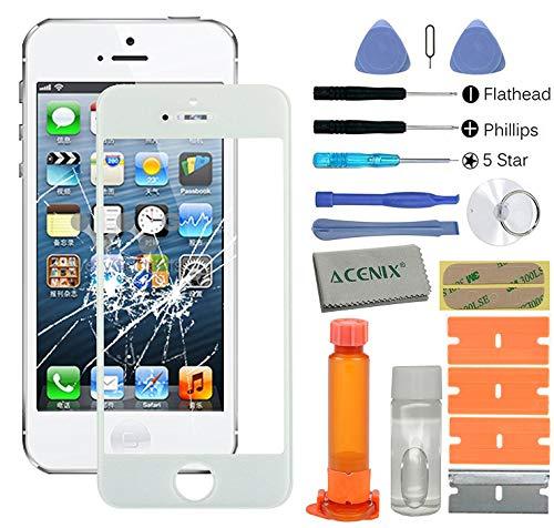 ACENIX Universal Reparaturset weiß Touch screen Front Glas-Objektiv Ersatz-Reparatur-Set mit Loca Kleber & Loca Entferner für Apple iPhone 55S 5C mit 20Stück Ersatz-Kits, komplett-Set für defekte iPhone 5Bildschirm Objektiv - Ersatz-linse Iphone 5c