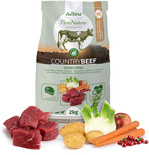 AniForte Natürliches Hunde-Futter Trockenfutter Country-Beef 2kg, Saftiges Feines Rind-Fleisch, 100{040b44128e931c788cfb504345e1f071e123a5a4c8180aa5838bb904e73eef89} Natur Allergiker, Getreide-Frei, Glutenfrei, mit Kartoffeln, Ohne Chemie und künstliche Vitamine