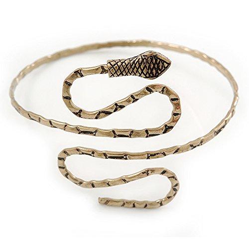 red Snake Upper Arm, Armlet Bracelet In Antique Gold Plating - Adjustable ()