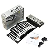 Powerpak BR-01-61 61 Key Portable Roll Up Soft Keyboard Piano (Black/White)