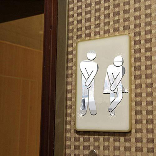 XSLZN Wandaufkleber (Drei Sätze) 3D Spiegel Aufkleber Lustige Wc Tür Eingang Zeichen Männer Frauen Badezimmer Wandaufkleber Aufkleber Bar Home Decor