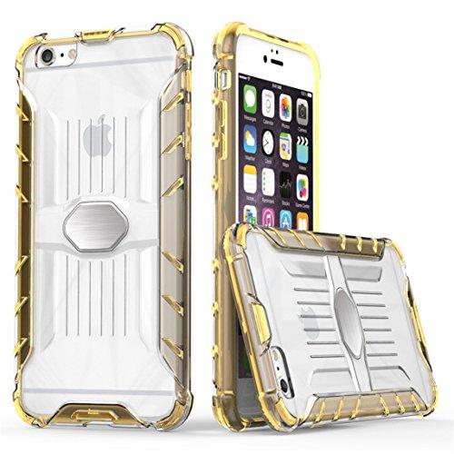 iPhone 6 Plus/6S Plus 5.5 Hülle, Voguecase Transparent Schutzhülle / Case / Cover / Hülle / 2 in 1 TPU + PC für magnetischen Auto Mount Gel Skin für Apple iPhone 6 Plus/6S Plus 5.5 (Schwarz)+ Gratis U Orange