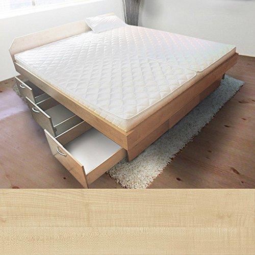 bellvita silverline Wasserbett mit Soft-Close Schubladensockel & Bettumrandung inkl. Lieferung & Aufbau durch Fachpersonal, 160cm x 200cm (ahorn)