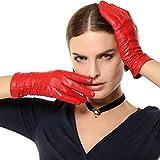 CWJ Frauen Echtes Leder Handschuhe Kaschmir Gefüttert Kurze Mode Klassische Winter Fahren Zurück Spitze 3 Farben,Rot,Klein