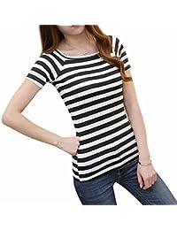 Sky Promotion!!! Mujeres Cuello Redondo Slim Short Rayas Top Blusa de La Camiseta Round Neck Slim Short Striped T-Shirt Blouse Tops (S, Negro)