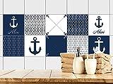 GRAZDesign 770381_15x15_FS40st Fliesenaufkleber Anker maritim | Fliesenbilder für Bad | Blau - Weiß | Fliesen zum Aufkleben Bad | Selbstklebende Fliesen-Folie | verschiedene Motive (15x15cm // Set 40 Stück)