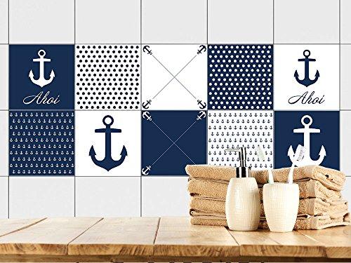 Graz Design® Fliesenaufkleber Maritim Fliesen Zum Aufkleben Bad U0026 Küche  Anker Ahoi Blau Weiß (