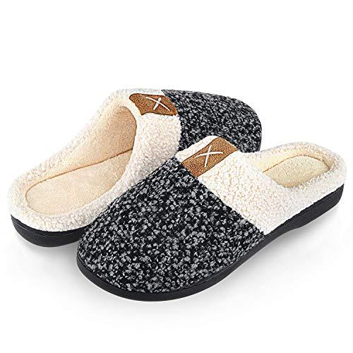 Inverno pantofole donna uomo ciabatte peluche scarpe da casa morbido antiscivolo caldo comode memoria schiuma pantofole per interno esterno(grigio.sz,40/41 eu)