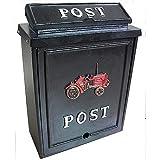 Boîte aux lettres en aluminium motif tracteur Noir