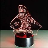 Goldfish Creative 3D Night Light Led Usb Acrílico Peces 3D Lámpara de Mesa Lámpara de Dormir para Dormir Luz Decoración Niño Niños Juguete de Regalo