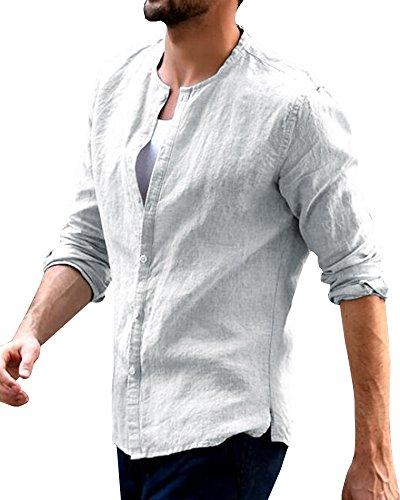Lueyifs Herren Leinen Freizeithemd Langarm Männer Sommer Hemd Casual Regular Fit Shirt (Langarm-herren-arbeitshemd)