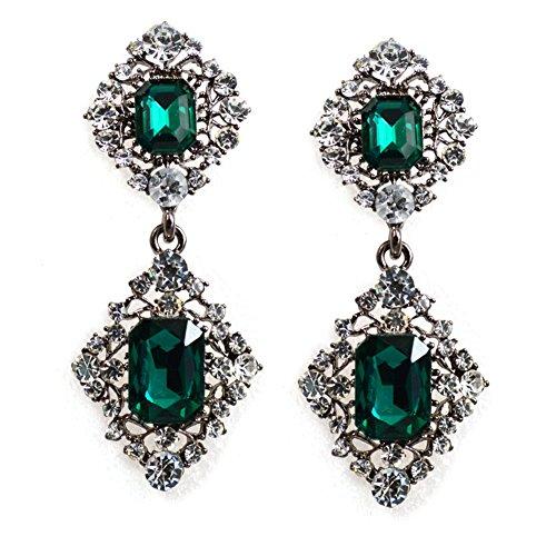 Emorias Damen Mädchen Ohrringe Elegant Tropfen Wasser Kristall Chandelier Ohrringe Glitzer Ohrstecker Geschenk für Abschlussball Hochzeit