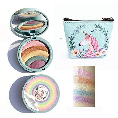Rainbow resaltador de destellos del arco iris del marcador de sombra unicornio maquillaje polvo cosmético con mini bolsa portátil 1pc