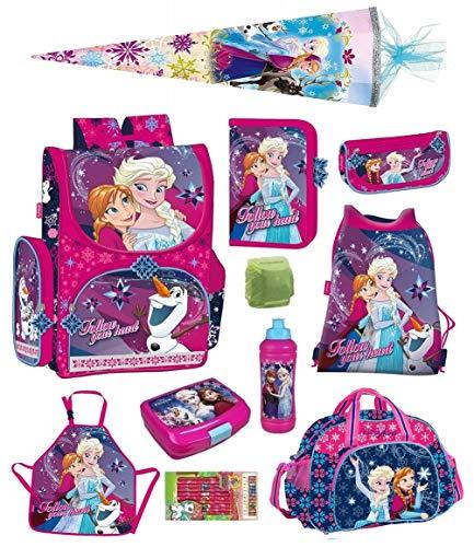 Familando Disney Eiskönigin Schulranzen Set 11-tlg. mit Federmappe, Sporttasche, Schultüte 85cm, Regenschutz Frozen