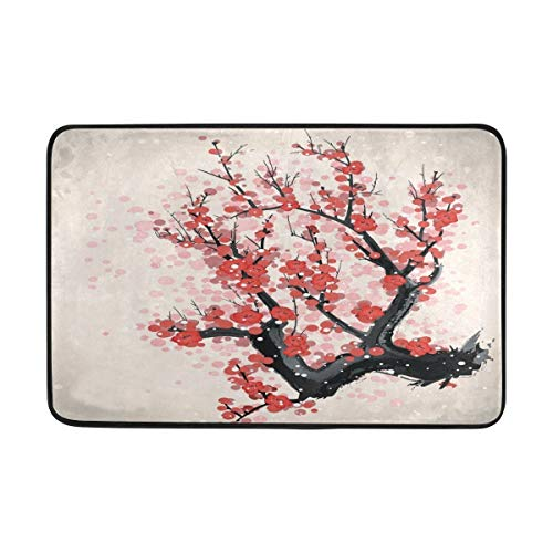 Bag hat Cherry Blooming on The Tree Doormat Entrance Mat Floor Mat Rug Indoor/Outdoor/Front Door/Bathroom Mats Rubber Non Slip Size 23.6