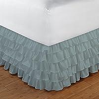 Gamma 100% cotone egiziano Elegante Finitura 1pcs multi Ruffle Giroletto A Goccia (lunghezza: 28pollici), Cotone, Aqua Blue Solid, UK_Single_Long
