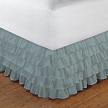 300tc 100% algodón egipcio elegante acabado 1pieza Multi volantes cama sólida (Drop Longitud: 18cm), algodón, Aqua Blue Solid, UK_Single