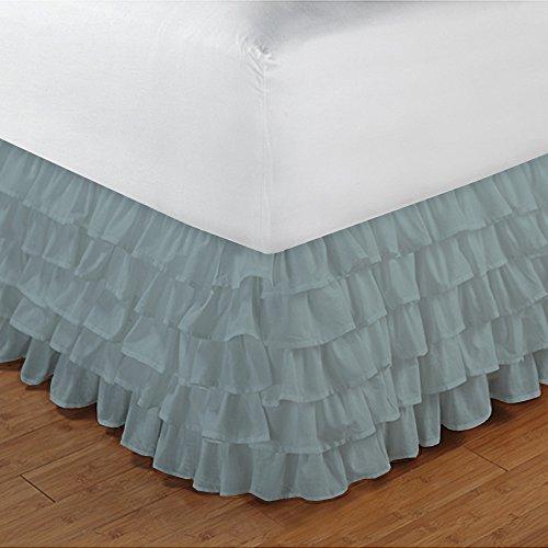 600TC 100% cotone egiziano, finitura elegante Bedskirt, con coperchio salva-aroma, a forma di goccia, lunghezza: 68,58 (27) cm), Cotone, Turquoise Blue Solid, EU_Super_King Aqua Blue Solid