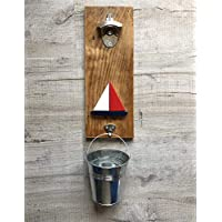 Wall mounted bottle opener with sail boat detail