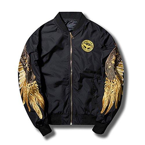Taktische Jacke Windbreaker Jacke für Männer Männer Feder Hülse Flügel Stickerei lässige Mode Mens Bomberjacken schwarz M