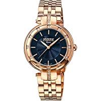 Ferre Milano Women'S Gold Dial Stainless Steel Band Watch Fm1L069M0091, Quartz, Analog