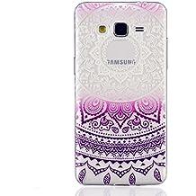 MUTOUREN teléfono caso cubrir volver piel protectora Shell Carcasas Funda para Samsung Galaxy Grand Prime G530 - Henna Series Full Mandala Floral Dream Catcher -Deep Purple