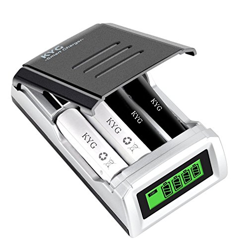 KYG Caricabatterie per Pile Ricaricabili Caricatore Batterie Stilo AA...