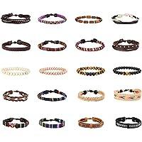 Finrezio 20 Pcs Braided Bracelet Set Women Men Beads Leather Wristbands Boho Ethnic Tribal Linen Hemp Cords Wrap Bracelets String Handmade Jewelry