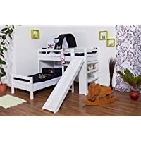 Etagenbett/Spielbett Moritz L Buche Vollholz massiv weiß lackiert mit Regal und Rutsche, inkl. Rollrost - 90 x 200 cm, teilbar preisvergleich bei kinderzimmerdekopreise.eu