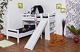 Etagenbett / Spielbett Moritz L Buche Vollholz massiv weiß lackiert mit Regal und Rutsche, inkl. Rollrost - 90 x 200 cm