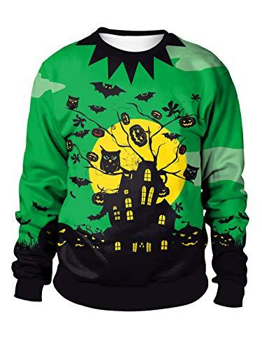 Dream3. Unisex Halloween Pullover Lange Ärmel Rundhalsausschnitt Sweatshirt 3D-Druck Halloweenkostüm Übergröße Jumper