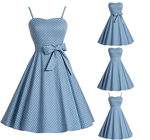 Bbonlinedress Vintage 50s 60s Retro Rockabilly Cocktailkleid mit abnehmbarem Schultergurt RoyalBlue White Dot XL - 2