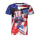 Xmiral t Shirt Uomo Divertenti Maglietta da Uomo Maniche Corte Sportivo per Bodybuilding a Palestra Bandiera Stampata 3XL Nero