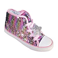 The Sparkle Club Girls Children Kids Pink and Silver Reversible Sequin high top Trainers Skater Shoes, Pink, 1 UK
