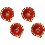 [Sponsored Products]Set Of 4 Handmade Earthen Terracotta Reusable Diwali Diyas Earth Red Round Shaped For Diwali Decoration