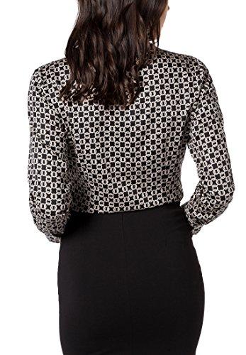 eterna Damen Bluse Comfort Fit Langarm Grau Bedruckt mit Kelch-Kragen Grau (Grau 38)