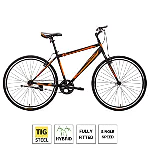 Triad X1 700c Single Speed - Fully Fitted Hybrid Bicycle (Matte Black) - 2 Year Frame & Fork Warranty