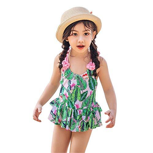 EXCLVEA-COP Personalisierte Mädchen Badeanzug einteilig Mädchen Badeanzug Kinder Blattdruck Rüschen Schwimmen Kostüm Bademode Strand Badeanzug Kinder Badeanzug Badeanzug (Farbe : Grün, Größe : M)