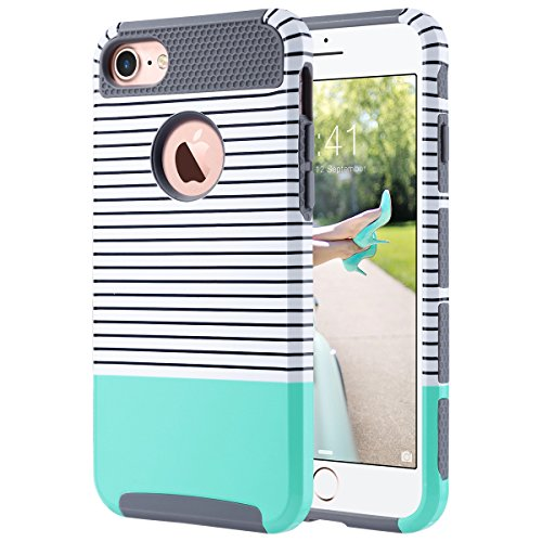 ULAK iPhone 7 Hülle, [Bunte Serie] Slim Hybrid Dual Layer [Kratzfest] Hard Back Cover [Shock Absorbent] TPU Stoäfänger Fall für iPhone 7 [4,7 Zoll] (Schwarzweiss -Streifen + Mint Green)
