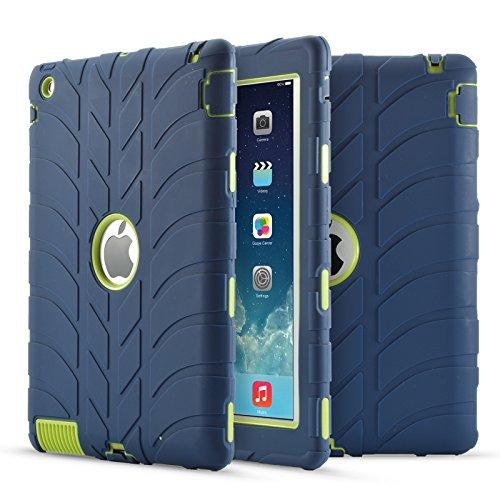 iPad 4Case, iPad 3Case, iPad 2, stoßfest Silikon Antirutsch Hohe uzer (Tire Pattern Impact Resistant Hybrid Drei Schicht Hard PC + Silikon Armor Schutzhülle für iPad 2/3/4, Navy+Green