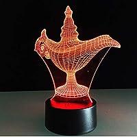 La lámpara de Aladdin de regalo con diseño de magia en 3D, ilusión óptica,