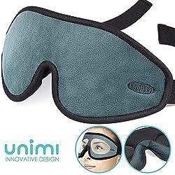 Schlafmaske, Unimi Augenmaske mit Gedächnisschaum und verstellbarem Gurt, Schlafmaske für Frauen und Männer, 100% Lichtundurchlässig,Verbesserte 3D-Augenabdeckung für Reisen/Mittagsschlaf/Nachtschlaf