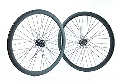 Ridewill Bike Paire Roues clipser fixe piste profil 43 mm Noir mat (clipser fixe)/pair of Single Speed Wheels height of the Rim 43 mm Black (Fixed Wheel)