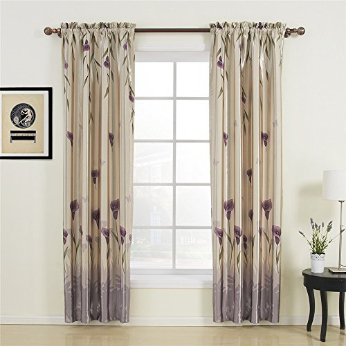 IYUEGO Floral Polyester Purple Blackout Rod Pocket Curtain Draps With Multi Size Customs 50 W x 102 L (One Panel) by IYUEGO -