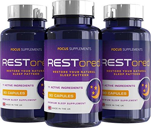 fairvital vitamin d3 RESTored Kräutermischung für die Nacht mit 5-HTP, L-Tryptophan, Magnesiumglycinat, L-Theanin, Mineralien, Vitaminen - Schlafmittel & Stimmungsaufheller - 90 Vegetarische Kapseln
