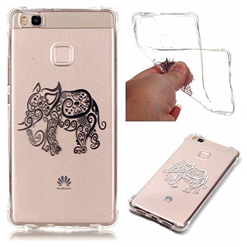 GrandEver Morbido TPU Cover per Huawei P9 Lite, UltraSlim Silicone Soft Flessibile Custodia, Protettivo Trasparente Skin Caso Copertura Back Case con Disegno Speciale - Bronzing Elefante Indiano
