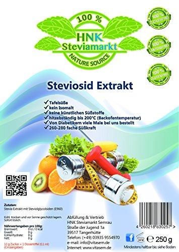 Stevia Extrakt Pulver - zahnfreundlicher und gesunder Zuckerersatz - gesunde Küche zum Kochen und Backen - sehr ergiebig auch für Diabetiker (1 x 250g) -