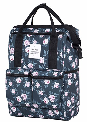 HotStyle DISA Fashion Blumen Damen Laptop Rucksack 14 zoll (44x27x17cm) - Rose Grau (Handtaschen Army Bag Junior)